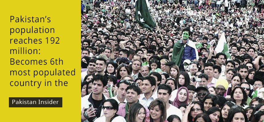 Pakistan's population reaches 192 million: Becomes 6th most populated country in the world