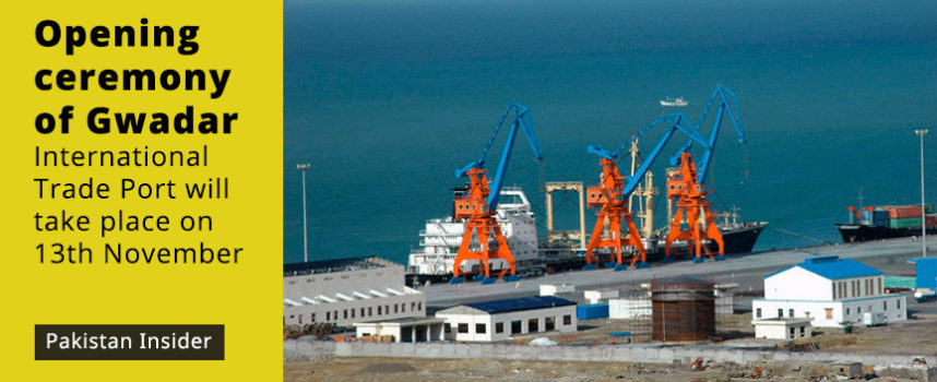 Opening ceremony of Gwadar International Trade Port will take place on 13th November