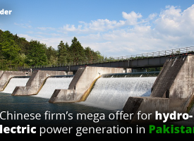 Chinese firm's mega offer for hydroelectric power generation in Pakistan